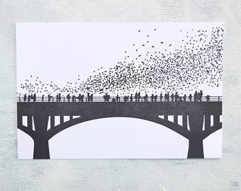 Letterpress Postcard - Austin Bats