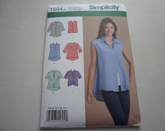 Pattern Ladies Shirts 6 Styles Sizes Xs to XL Simplicity 1694