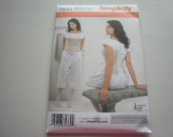 Pattern Costume Historical Chemise Corset Drawers Sz 8 to 14 Simplicity 2890 A