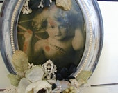 Re-Styled Vintage Metal Framed Cupid Distressed White Silk Flowers Rhinestone Jewerly  Pearls Lace French Shabby Chic Decor