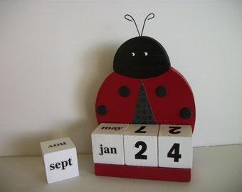 Ladybug Calendar Perpetual Wood Block Red Ladybug Decor