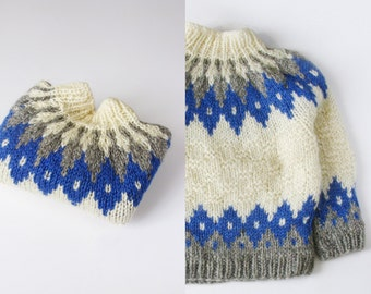 Small Traditional Irish Knit Sweater with Blue and Grey Diamond Pattern - 1970