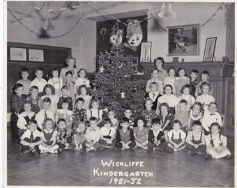 Wickliffe Kindergarten Class At Christmas - Vintage  Photograph (X)