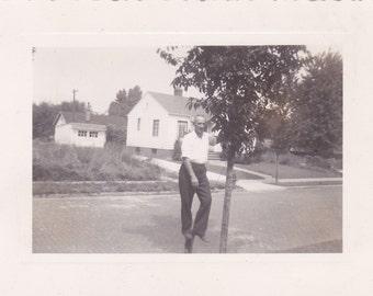 Man and a Tree - Vintage Photograph, Vernacular Photos, Ephemera (QQ)