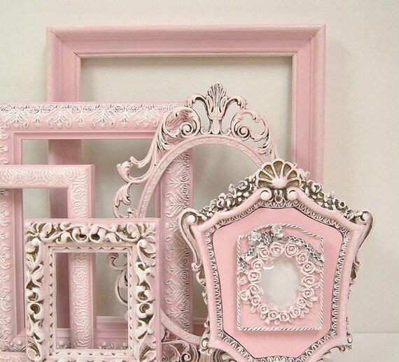 shabby chic frames fresh pastel pink picture frame set ornate. Black Bedroom Furniture Sets. Home Design Ideas