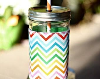 Rainbow Chevron Mason Jar cup  24 oz large Tumbler with fabric sleeve- travel mug - teachers gift - mothers day- candy swirl straw included