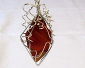Crazy Wavy Wire Wrapped Fire Agate in Red and Orange