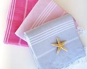 Free Shipping Set of 3 Turkish Towels HQ Turkish Towel Cotton Bath Towel Beach Towel Spa Pool Towel Yoga Mat