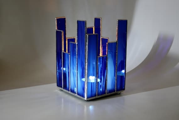 Glass Candle Holder Cobalt Blue Stained Glass by GailsGlassGarden