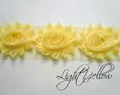 "Shabby Chiffon Rose Trim - 1/2 yard -- 2 1/2"" wide - Light Yellow"