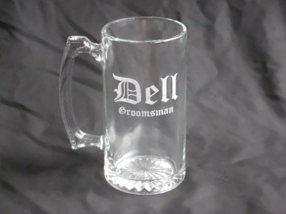 8 Custom Etched Groomsmen Beer Mugs