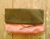 clutch purse / pink and green / fold over clutch bag / upcycled cosmetic bag