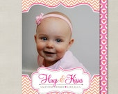 Fancy Ornate Hugs and Kisses Valentines Day Custom Double-sided Photo Card (Printable Digital File or Printed)