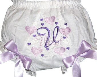 Personalized Hearts & Shades of Lavender Baby Girl  Bloomers, Diaper Cover, Panties