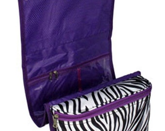 Personalized Large Roll-Up Cosmetic Case Bag Zebra w/ Purple Trim