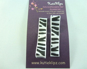 NEW...Everyday Black and White Zebra Printed Hair Clips - Set of 2 for...1.00 Hair Accessory - D58