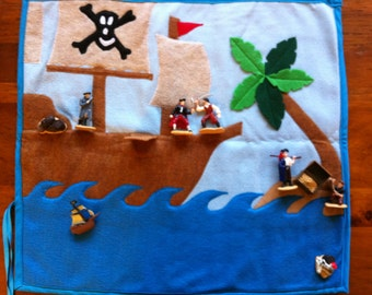 Felt Pirate Play Mat: A Roll-Up Felt Board with Pirate Toys