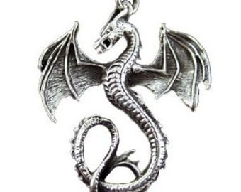 Large Solid Sterling Silver 925 Detailed Dragon Pendant Necklace