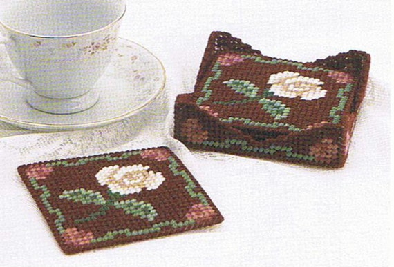 Coaster Set Pretty Roses Plastic Canvas Pattern