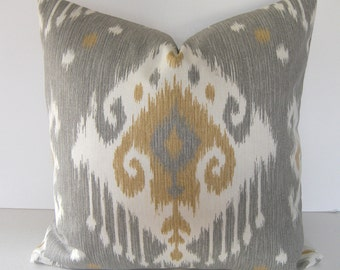 Both Sides - Ikat Decorative Throw Pillow Cover - Golden Tan - Grey - Ivory