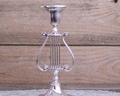 Beautiful Silver Plate Lyre Candle Holder