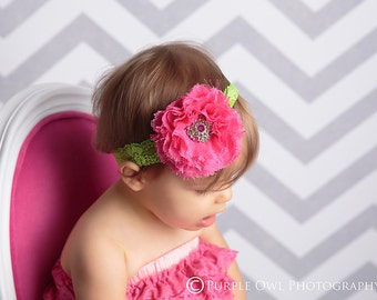 Hot pink and lime baby headband, newborn headband, infant headband, baby headband, Hot pink and lime lace headband