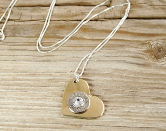 Bullet Necklace / 40 Caliber Nickel Bullet Brass Heart Necklace WIN-40-N-BHN / Heart Necklace / Brass Necklace / Sweetheart Necklace