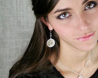 Bullet Earrings / Fire & Ice: Silver and Gold Bullet Earrings WW-4570-B-FISGE / Bullet Jewelry / Handmade Jewelry / Handmade Earrings