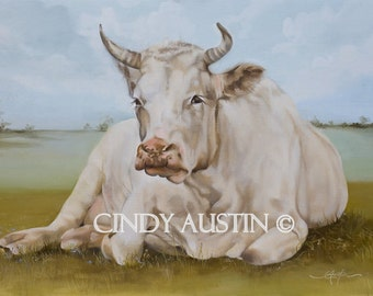 "Cow painting ""Eulalie"" giclee print"