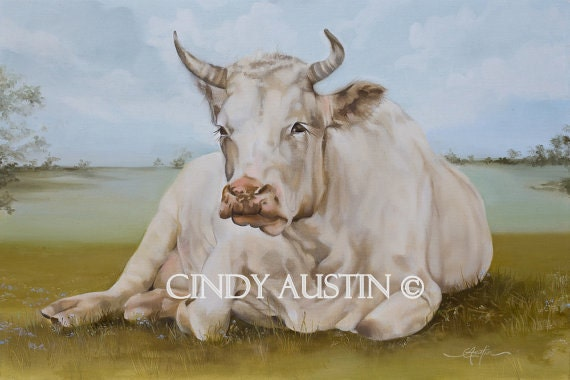 """Cow painting """"Eulalie"""" giclee print"""