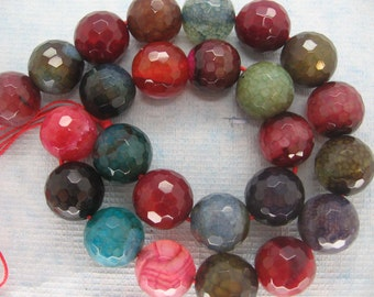 Beautiful Large Multicolor Agate Round Faceted Gemstone Beads 16mm