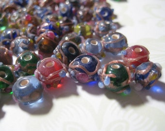 Bright Colorful Lampwork Style  Glass Beads 50 Pieces
