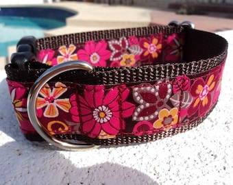 """Large Dog Collar 1.5"""" width Quick Release buckle adjustable Spice - upgrade to martingale style - No 1"""" width collar"""