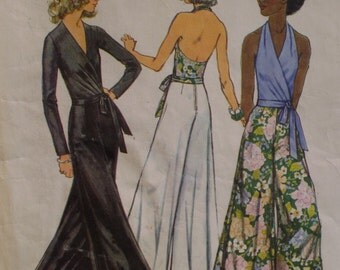 1970s Wrap Halter Pattern, Palazzo Pants, Wrap Blouse, Long Sleeves, Simplicity No. 5355 Size 12 Bust 34 Inches