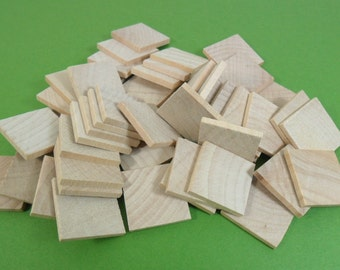 "50 Wood Square Tiles 1"" x 1"" x 1/8"" Unfinished Wood Square Tile Cutouts"