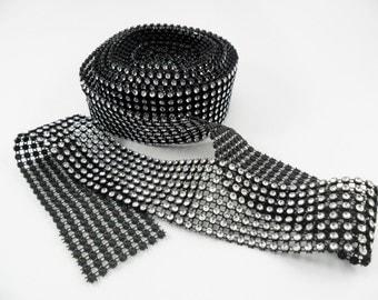 "Rhinestone Trim Faux Rhinestone Diamond Net Trim Black 1.5"" x 5 Yards Flip Flop Trim"