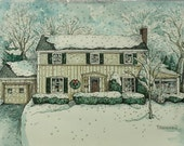 Original Watercolor House Portrait  hand-painted from your photos