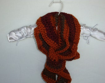 Ruffled multicolored crochet scarf, winter neck scarf, winter neckwear, ruffled scarf, orange scarf