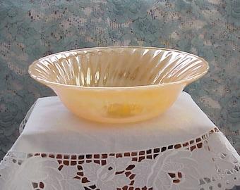 Vintage FIRE KING Bowl PEACH Lustre Swirl