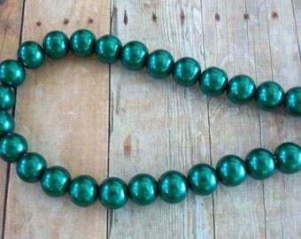 Pearl Bead Green Glass 12mm Strand