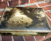 Cool Vintage Metal Rectangular Box with Pastoral Sheep and Shepherd Pasture Scene