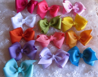 Boutique Hairbow for Toddler Baby Girl Hair bow Set of Two in Pick your own Solid Color Combination