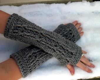 Soft Heather Grey Cabled Fingerless Gloves Crochet Gray Arm Warmers Women's Hand Warmers Wrist Warmers SalutationsCrochet