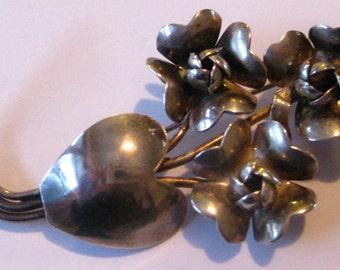 Sale Vintage Large Raffaele Sterling Flower and Heart  Brooch