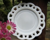 Open Lace White Milk Glass Salad Plate - Oak Hill Vintage