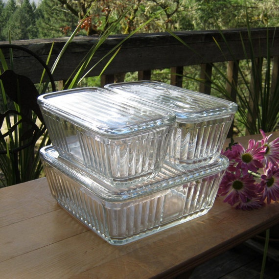 Anchor Hocking Clear Refrigerator Dishes With By