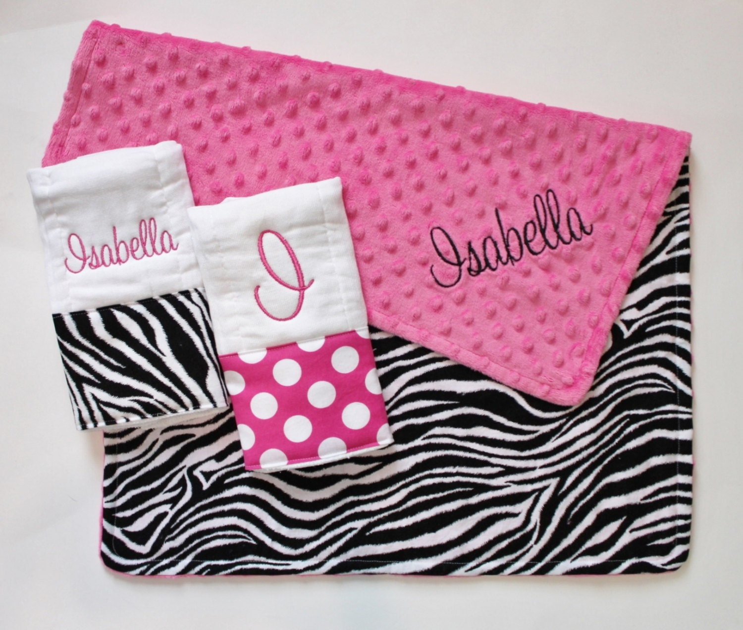 PERSONALIZED Baby Girl Zebra Stroller Blanket Plus 2