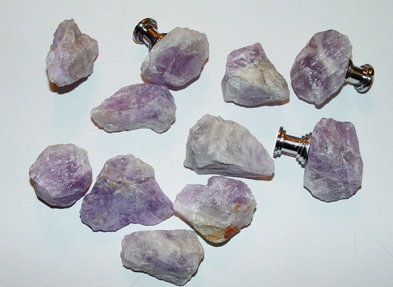 Custom Amethyst Gemstone Drawer Pull Knobs