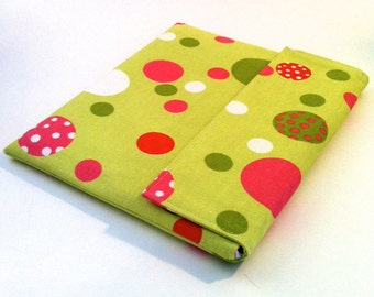 iPad Case, iPad Cover, iPad Sleeve in green and pink dots