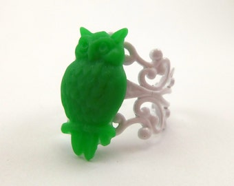 Green Owl Ring with White Filigree Adjustable Band